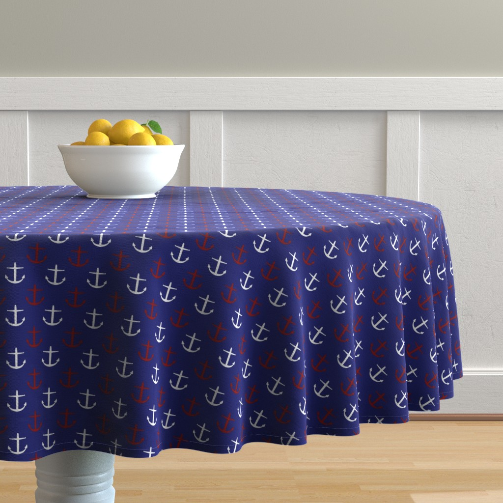 Malay Round Tablecloth featuring Small Red and White Anchors on Blue by jozanehouse