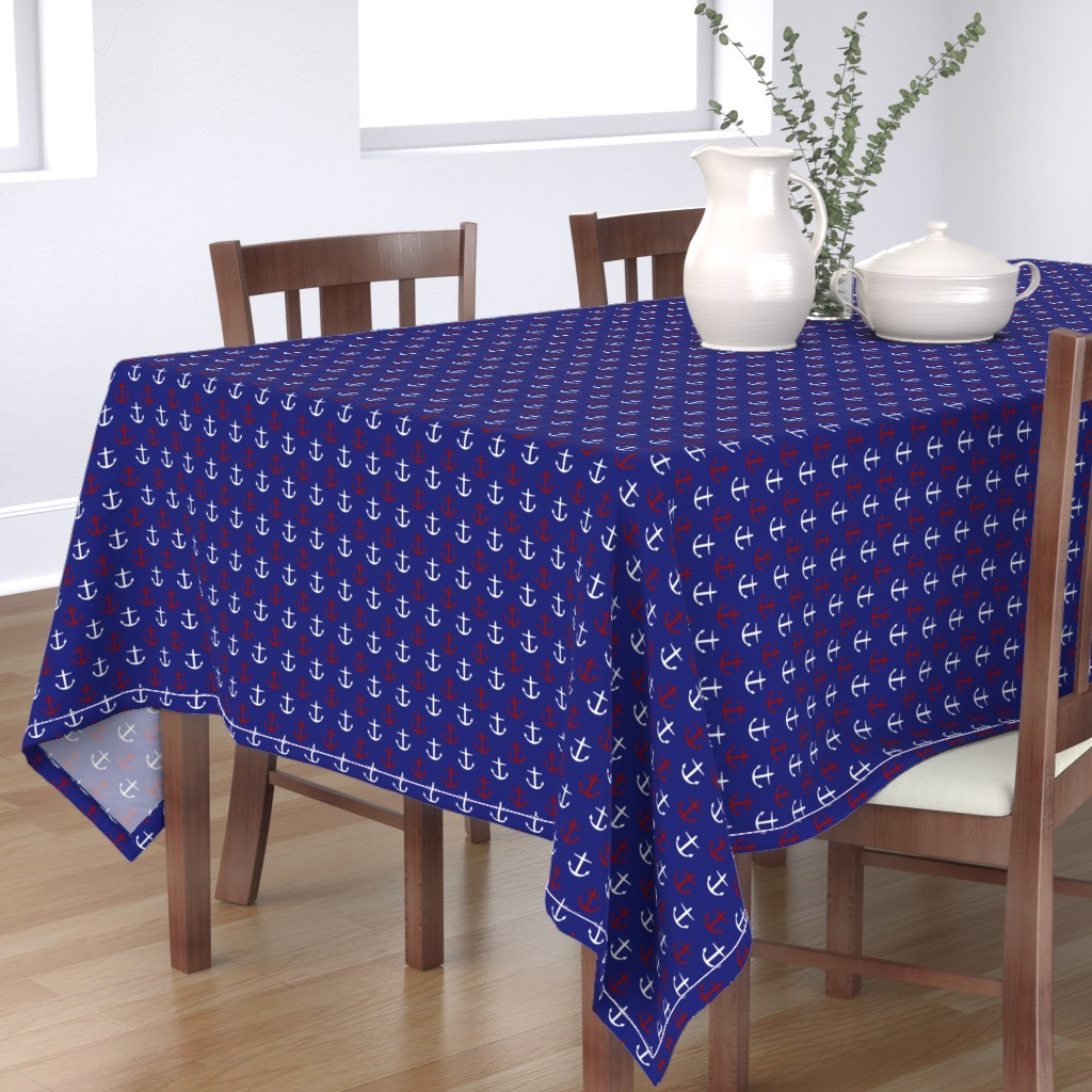 Bantam Rectangular Tablecloth featuring Small Red and White Anchors on Blue by jozanehouse