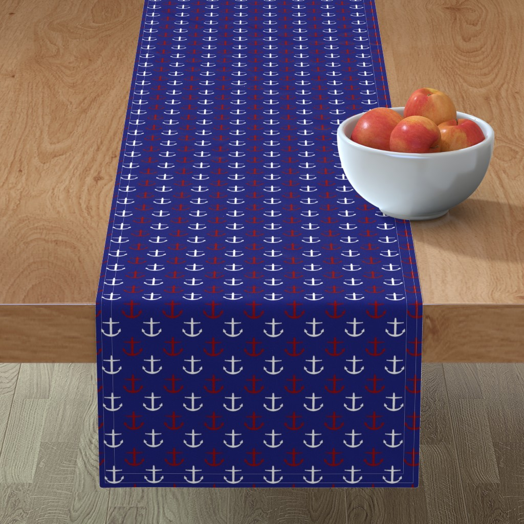 Minorca Table Runner featuring Small Red and White Anchors on Blue by jozanehouse