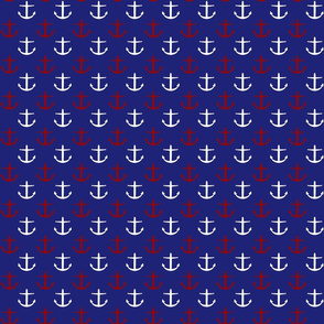 Small Red and White Anchors on Blue