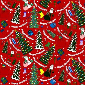 Christmas Trees, Stockings and Presents Fabric