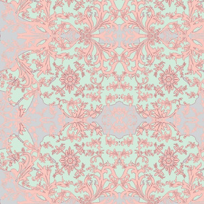 amaryllas-mauve/blue/pink, wider view of pattern