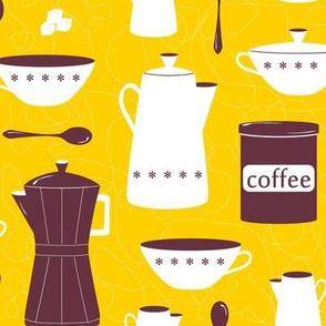 thrift store coffee set - yellow