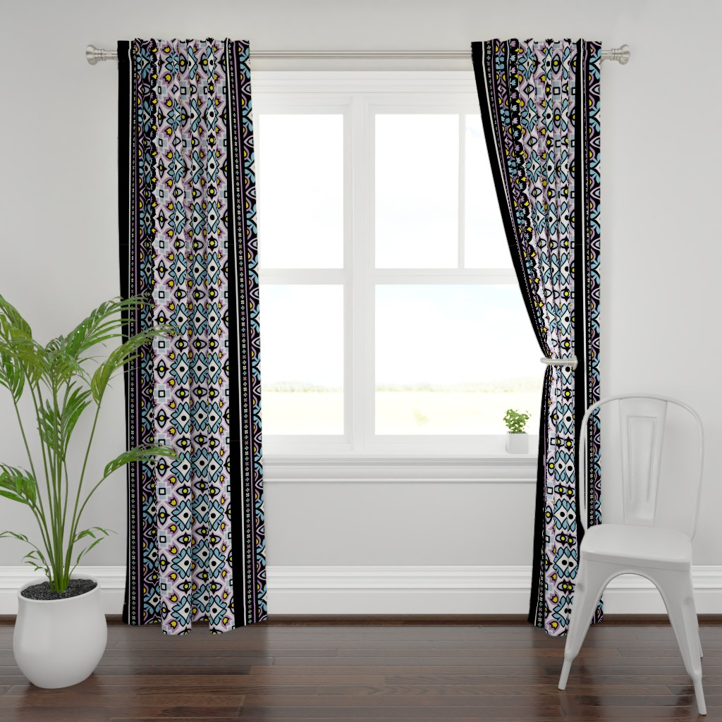 Plymouth Curtain Panel featuring Tulip Damask with Forget-Me-Nots Full Panel by pixeldust