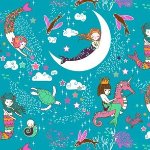 Mermaid Lullaby (teal) SMALL