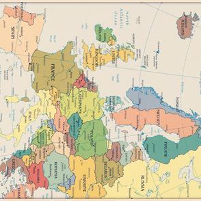 vintage map of Europe - yard