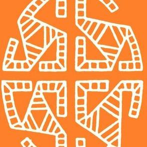 Orange Folk Ovals Grid