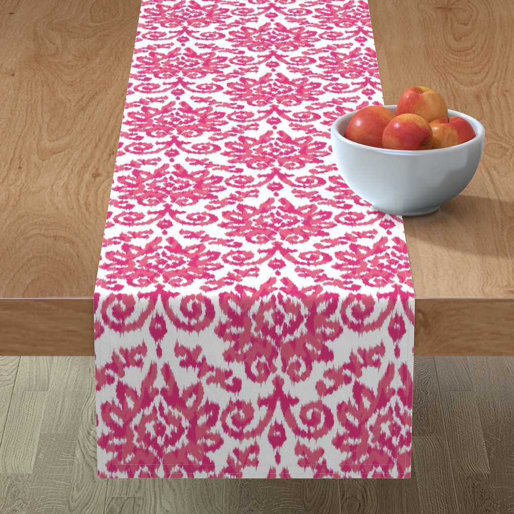 Minorca Table Runner featuring Pink Ikat Damask by stuckmotion
