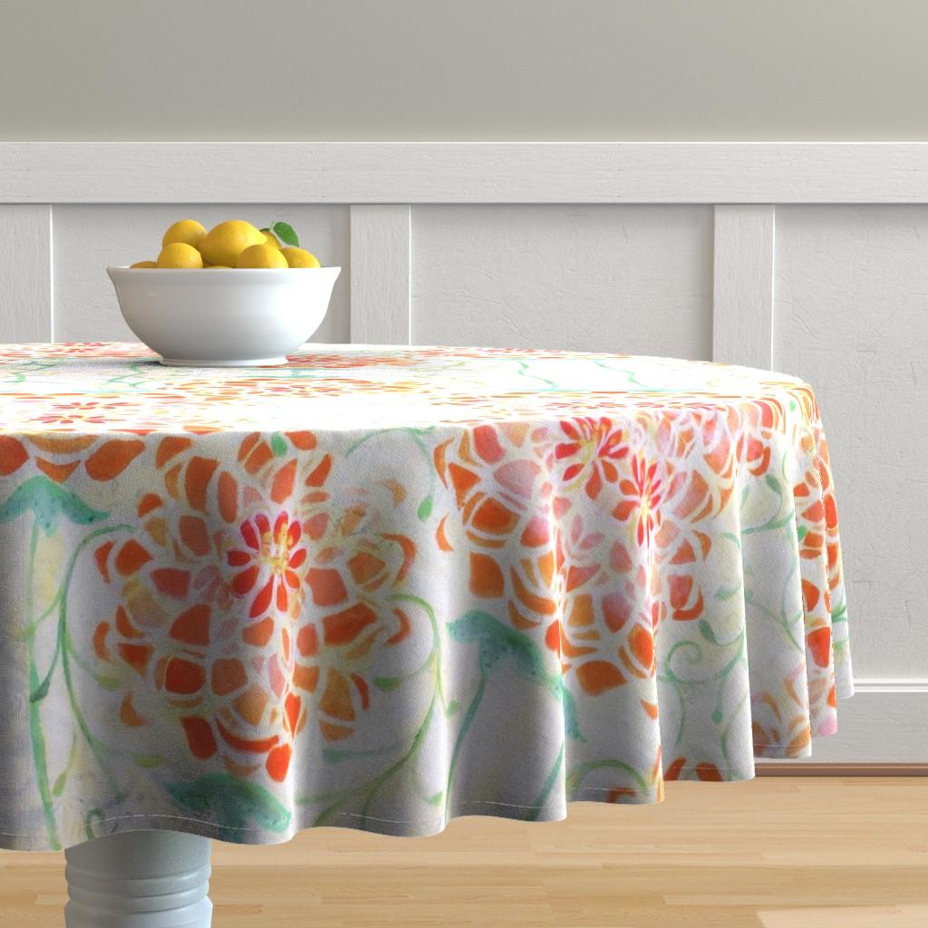 Malay Round Tablecloth featuring Orange Dahlia by maria_pezzano