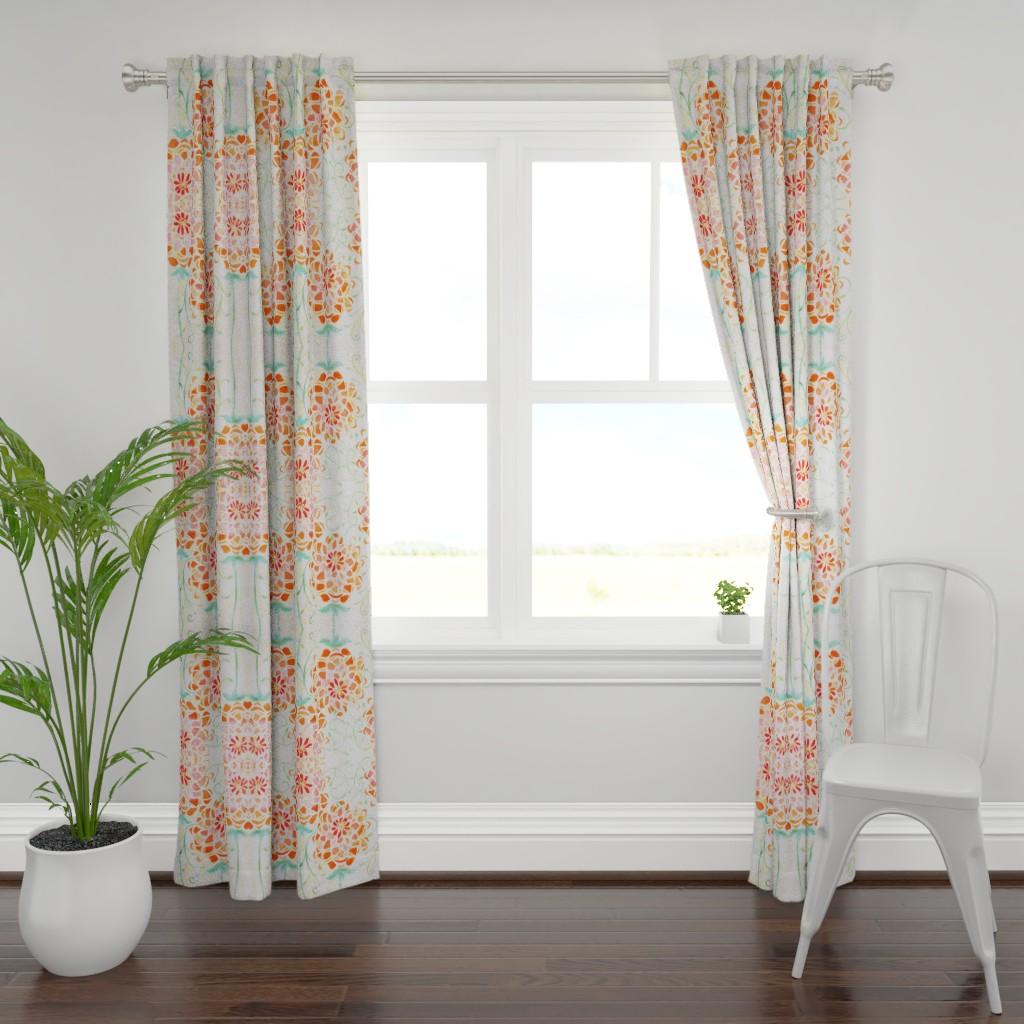 Plymouth Curtain Panel featuring Orange Dahlia by maria_pezzano