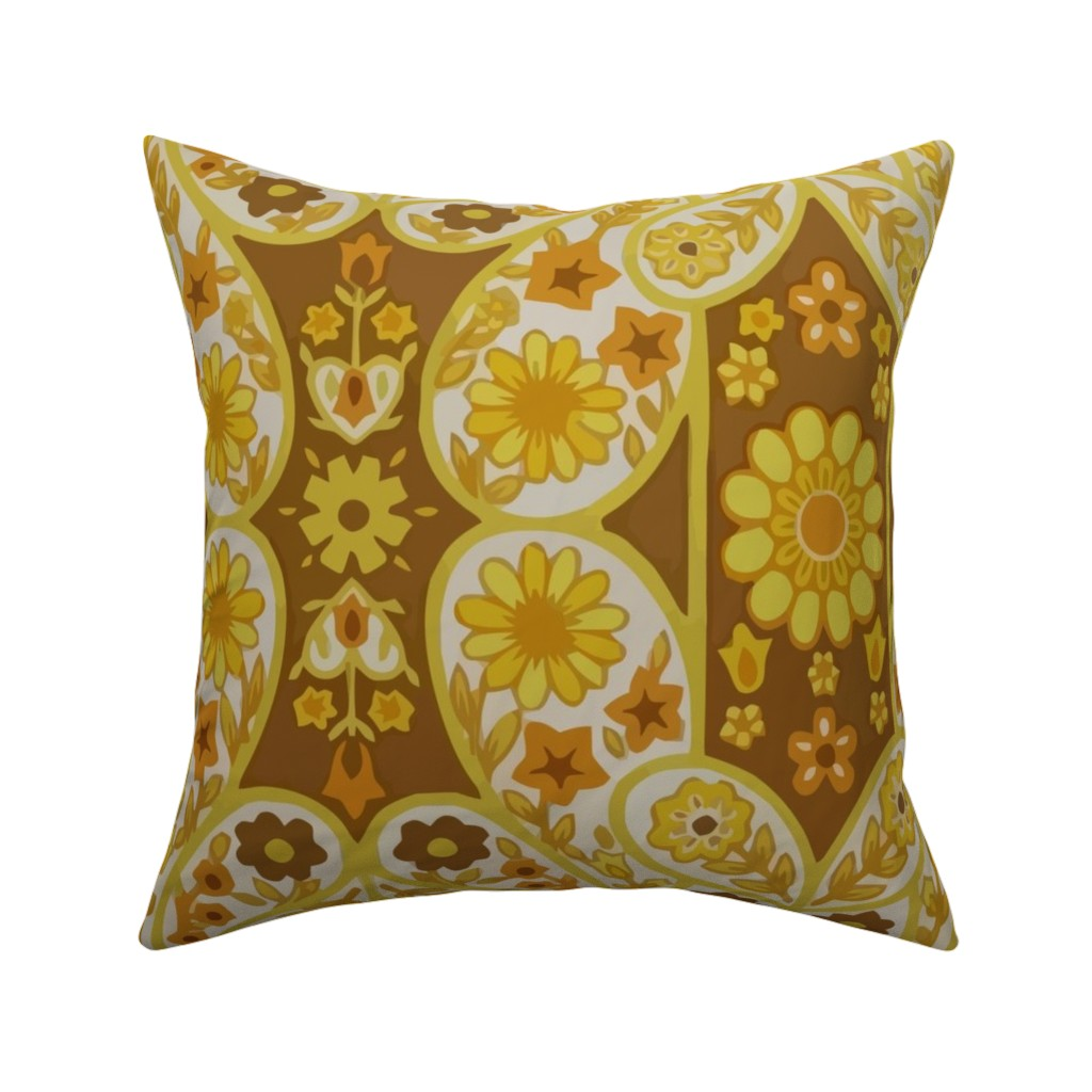 Catalan Throw Pillow featuring Retro curtains by snork