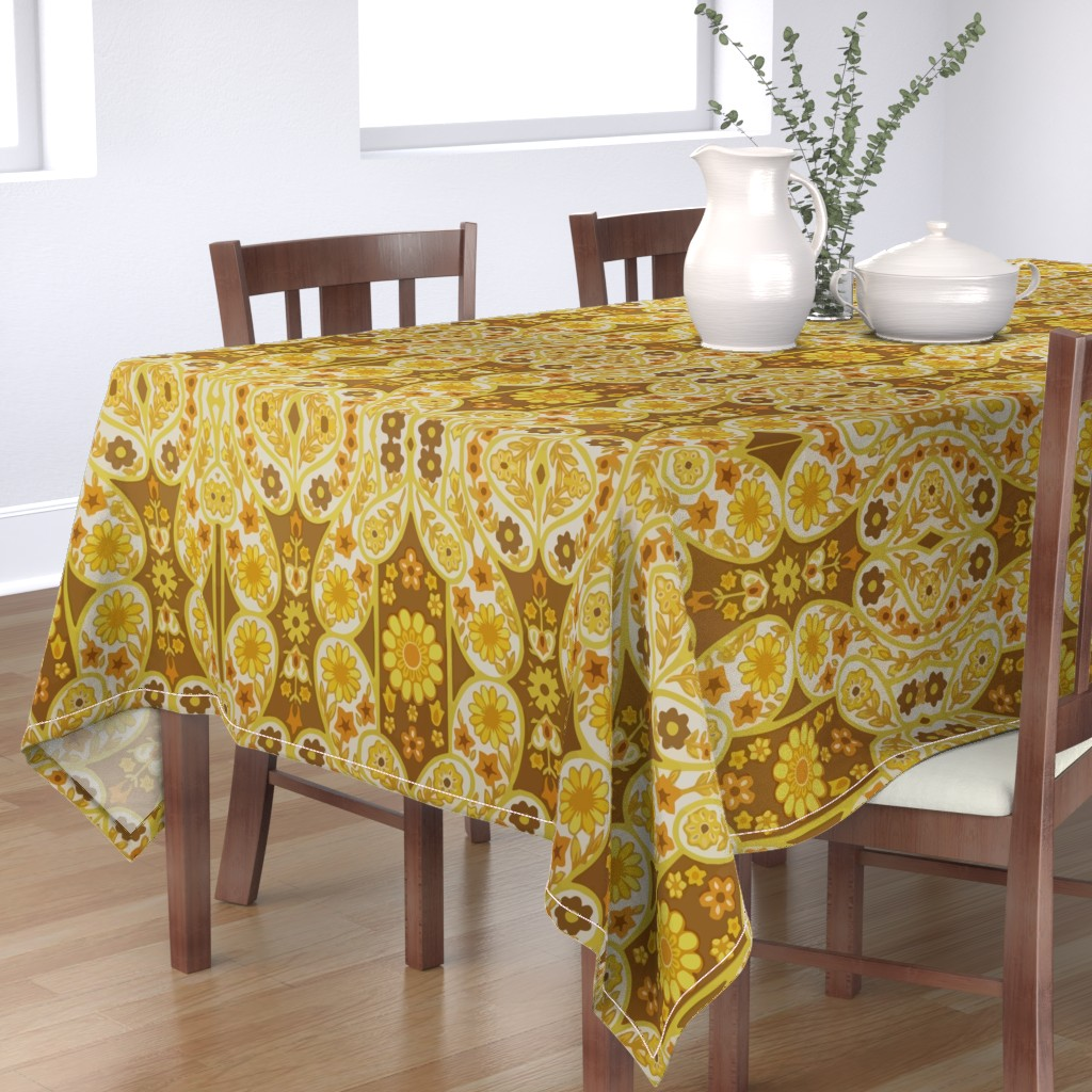 Bantam Rectangular Tablecloth featuring Retro curtains by snork