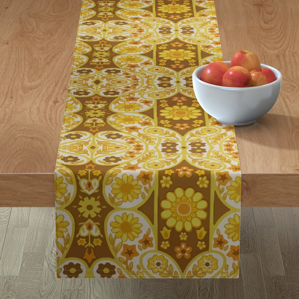 Minorca Table Runner featuring Retro curtains by snork