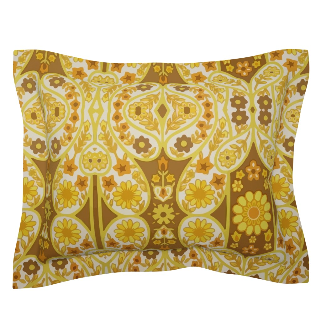Sebright Pillow Sham featuring Retro curtains by snork