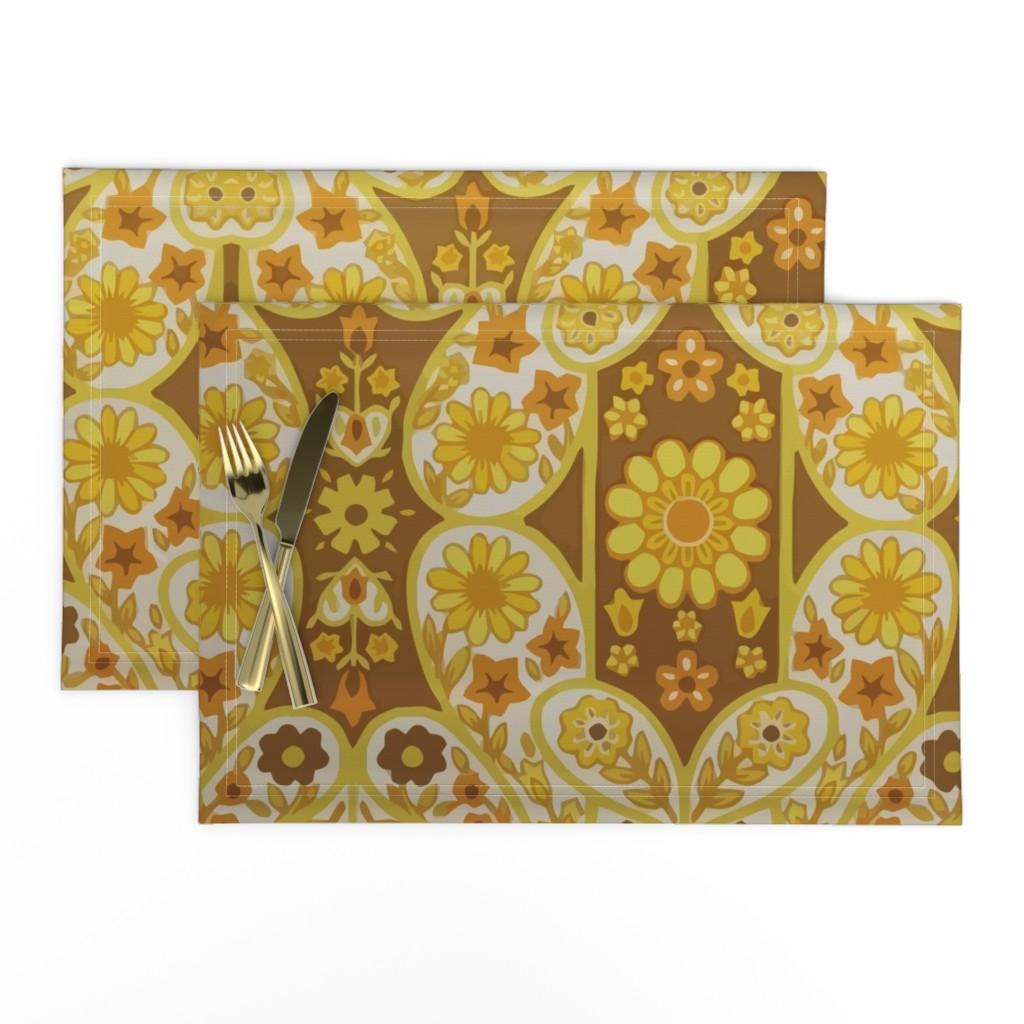 Lamona Cloth Placemats featuring Retro curtains by snork