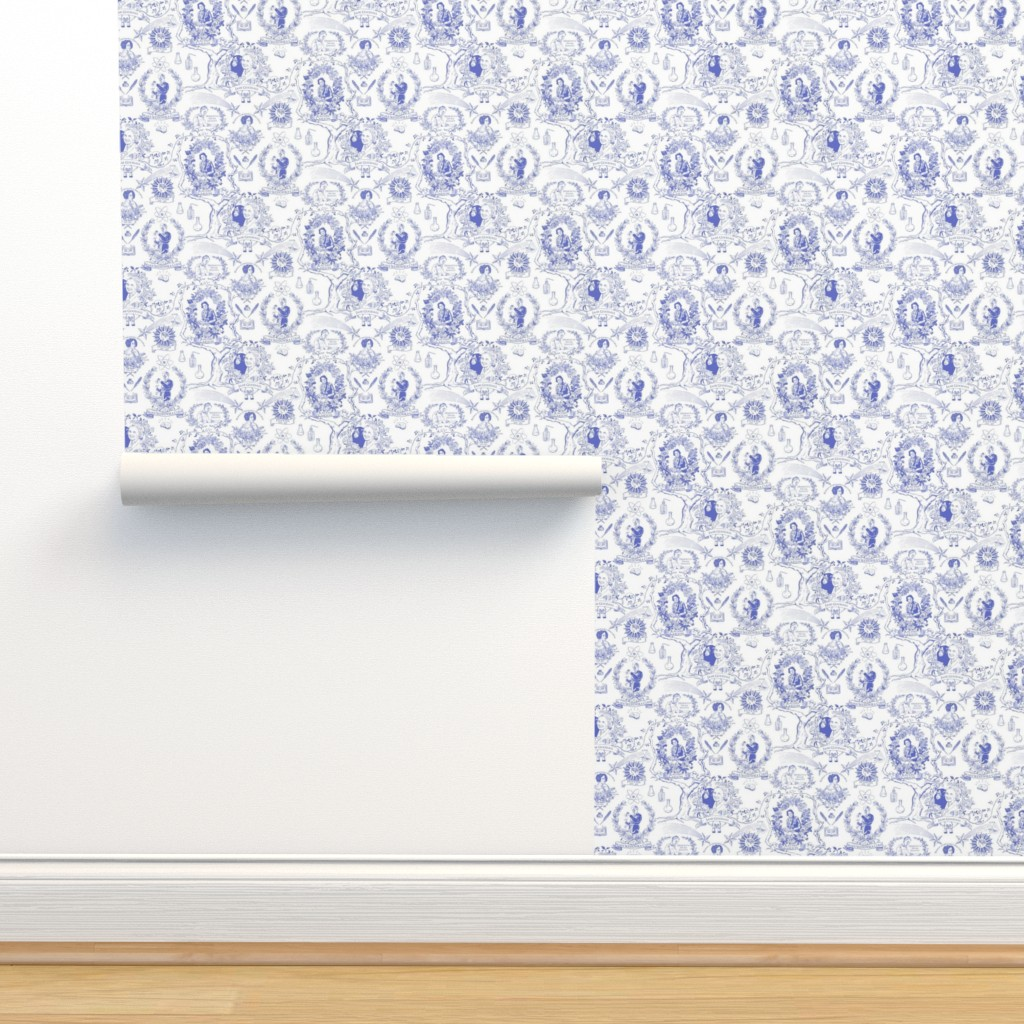 Isobar Durable Wallpaper featuring Women of Science and Learning Toile de Jouy by vinpauld