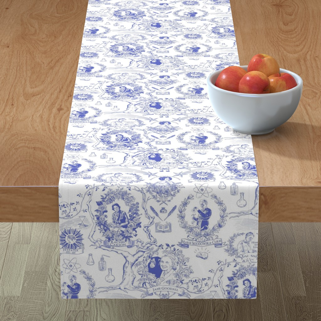 Minorca Table Runner featuring Women of Science and Learning Toile de Jouy by vinpauld