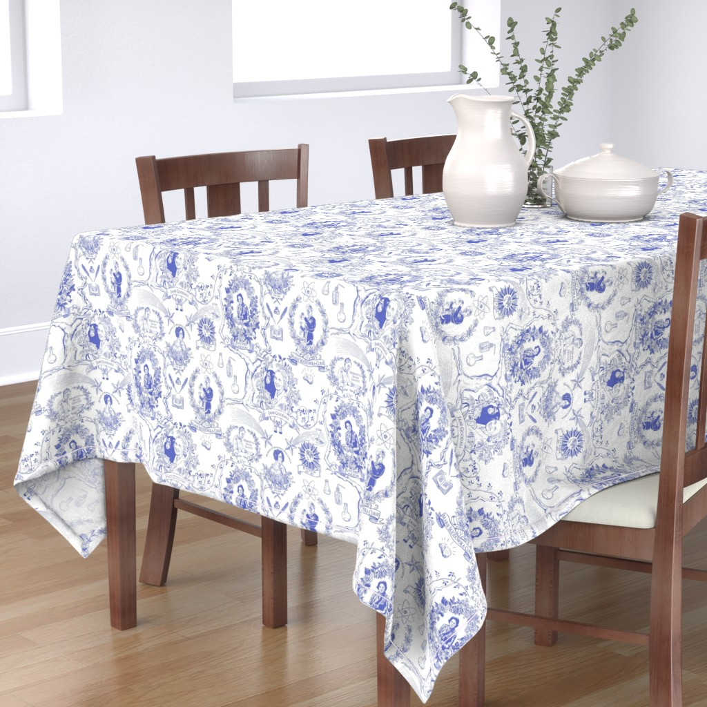 Bantam Rectangular Tablecloth featuring Women of Science and Learning Toile de Jouy by vinpauld