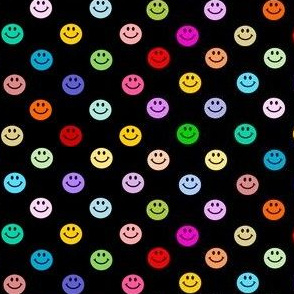 Rainbow Happy Smiley face Polka dot pattern (small print)