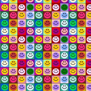 Colorful Happy Smiley face Squares (Small print)
