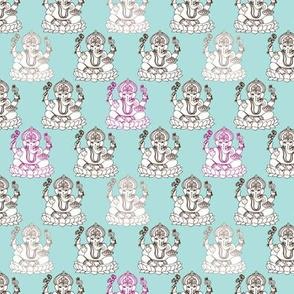 Blue Ganesh indian god illustration pattern