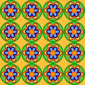 retro flowers colorful