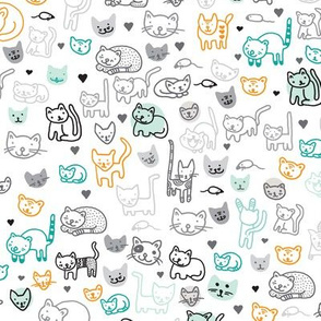 Cute doodle cats and kittens animal print for kids