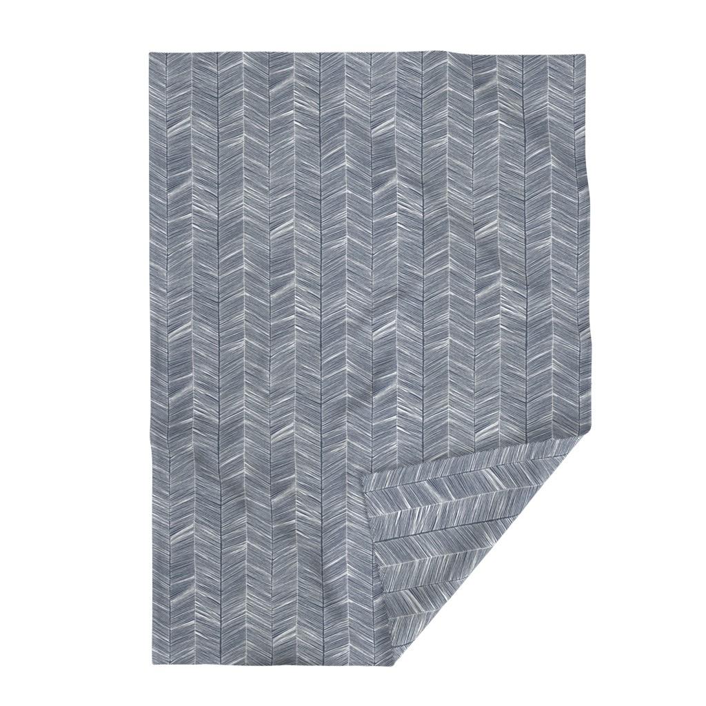Lakenvelder Throw Blanket featuring Herringbone White on Navy - Wallpaper by papercanoefabricshop