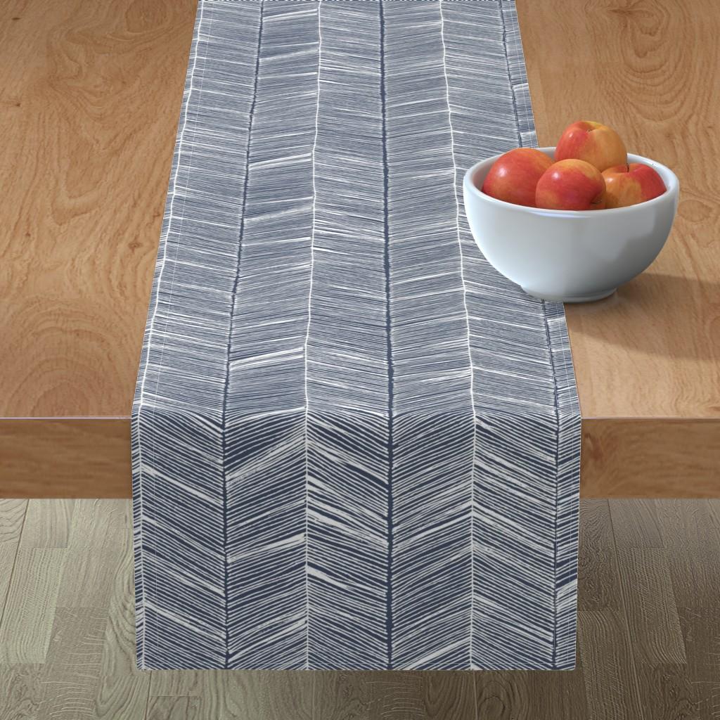 Minorca Table Runner featuring Herringbone White on Navy - Wallpaper by papercanoefabricshop