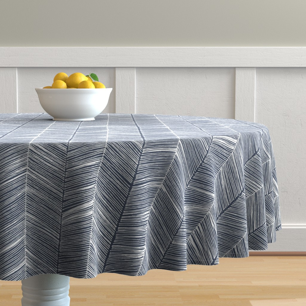 Malay Round Tablecloth featuring Herringbone White on Navy - Wallpaper by papercanoefabricshop