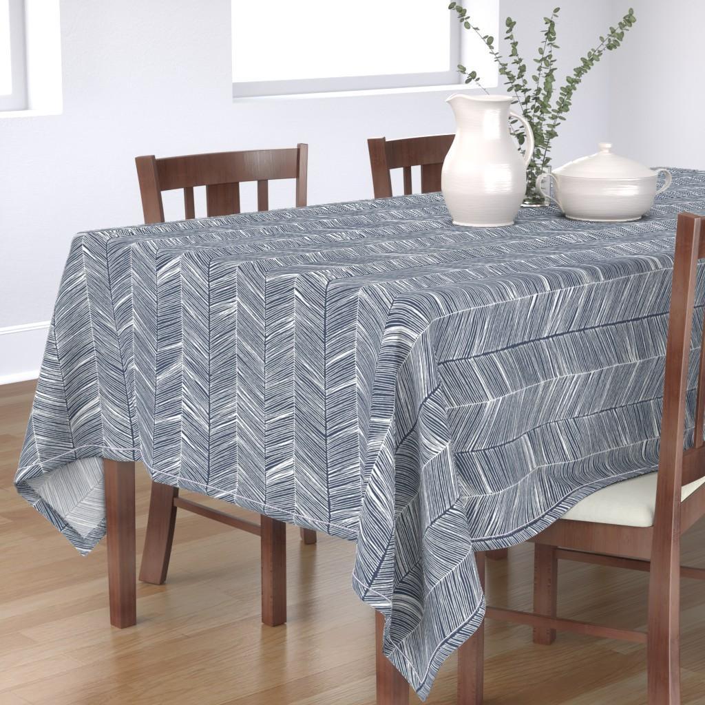 Bantam Rectangular Tablecloth featuring Herringbone White on Navy - Wallpaper by papercanoefabricshop