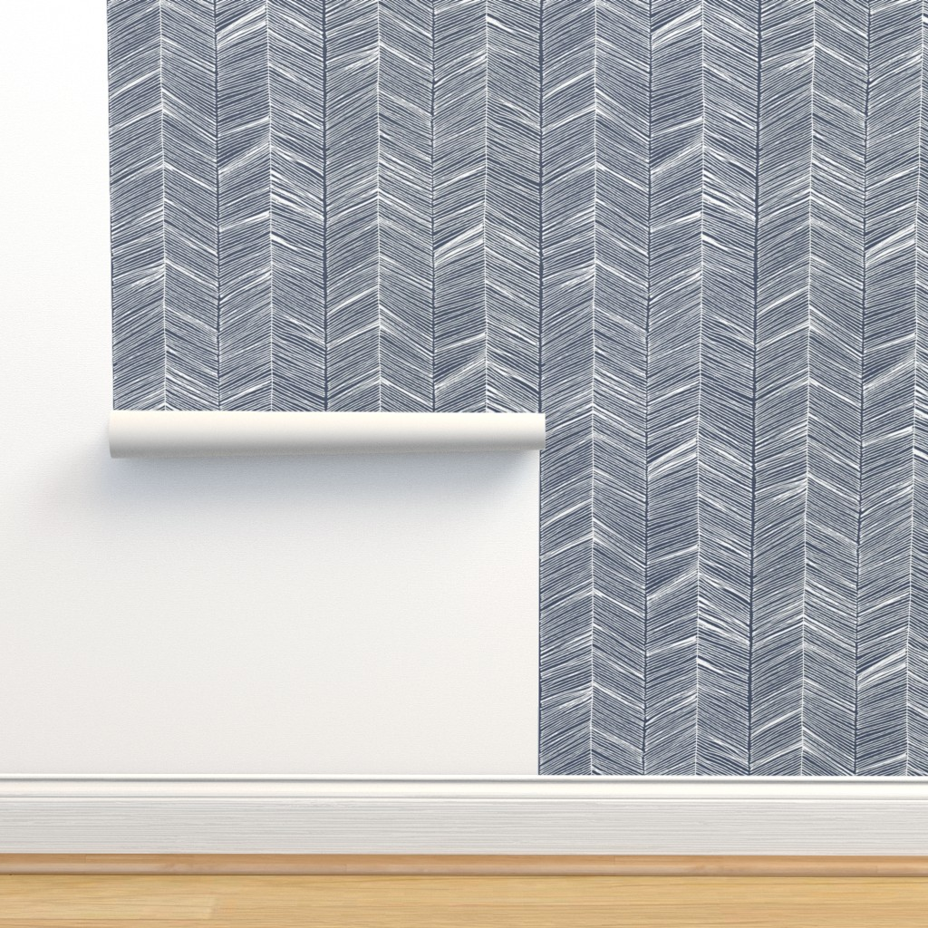 Isobar Durable Wallpaper featuring Herringbone White on Navy - Wallpaper by papercanoefabricshop
