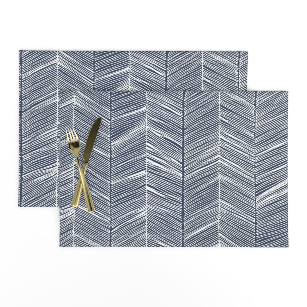 Lamona Cloth Placemats featuring Herringbone White on Navy - Wallpaper by papercanoefabricshop