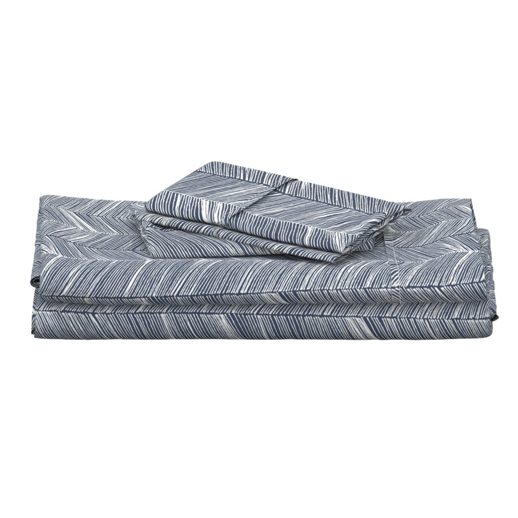 Langshan Full Bed Set featuring Herringbone White on Navy - Wallpaper by papercanoefabricshop