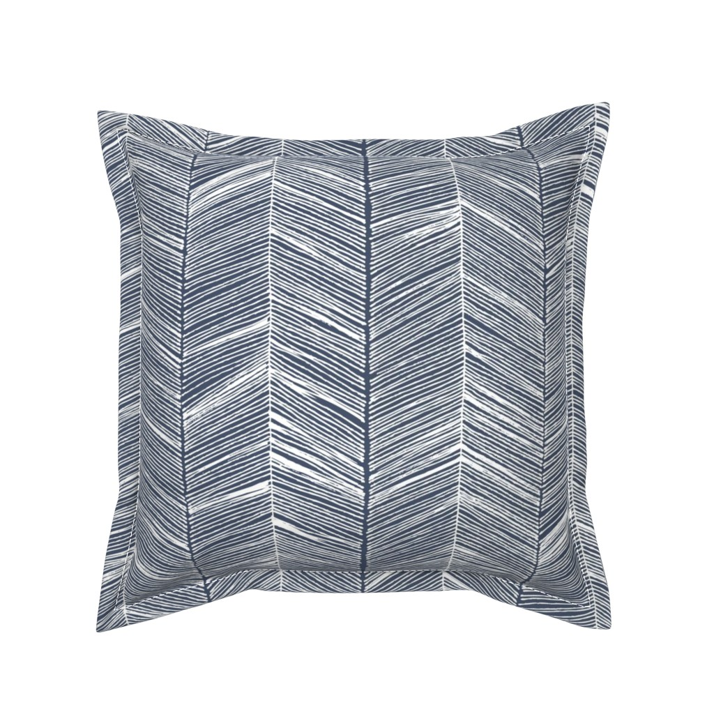 Serama Throw Pillow featuring Herringbone White on Navy - Wallpaper by papercanoefabricshop