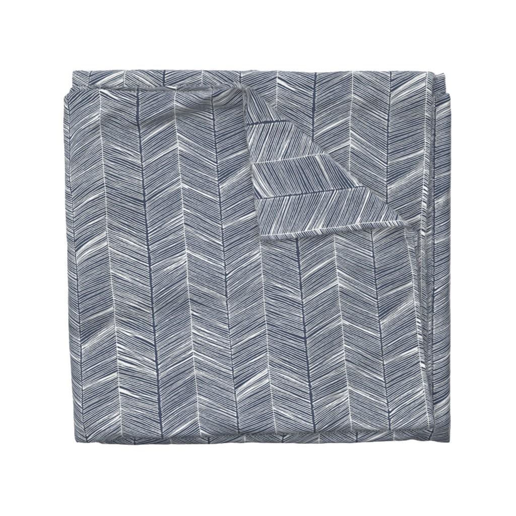 Wyandotte Duvet Cover featuring Herringbone White on Navy - Wallpaper by papercanoefabricshop