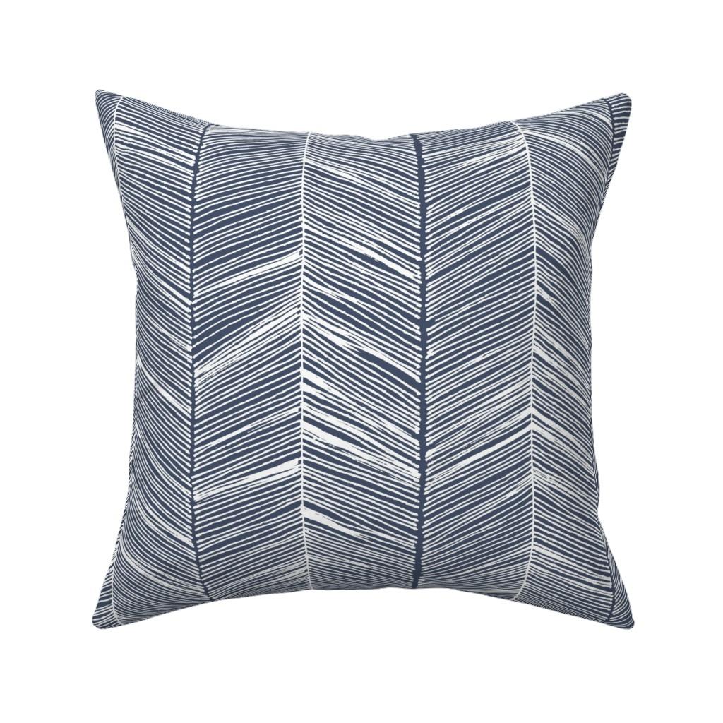 Catalan Throw Pillow featuring Herringbone White on Navy - Wallpaper by papercanoefabricshop