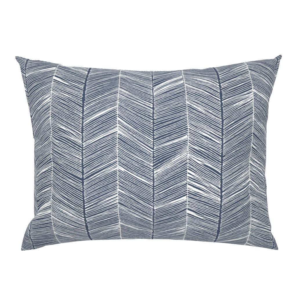 Campine Pillow Sham featuring Herringbone White on Navy - Wallpaper by papercanoefabricshop