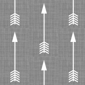 Arrows on Grey Linen - Grey Arrows