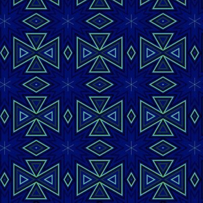 Green Geometric on Navy Large © Gingezel™