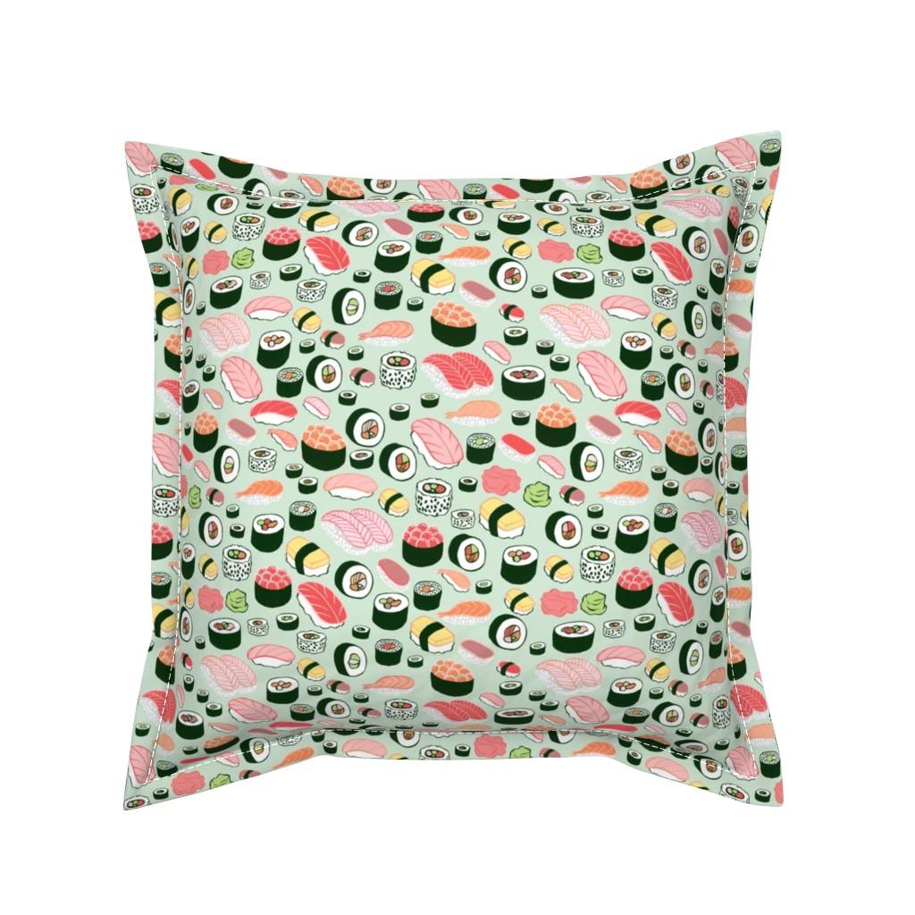 Serama Throw Pillow featuring sushi by kristinnohe