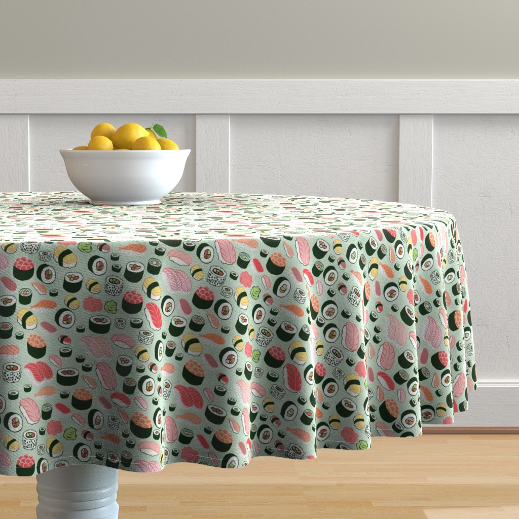 Malay Round Tablecloth featuring sushi by kristinnohe