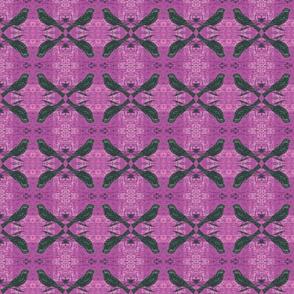 Blackbird on Batik Orchid Purple