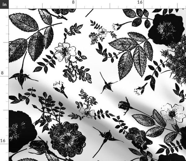 Black Rose Vine Silhouette Spoonflower