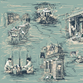 Travelling Cat Toile in Duck Egg and Dark Teal