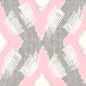 Ikat Diamond Pink Gray