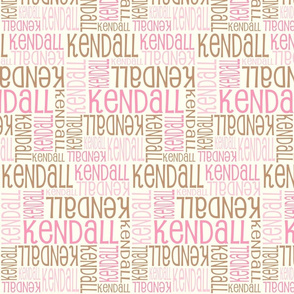 Personalised Name Design - Pinks and Brown on Cream