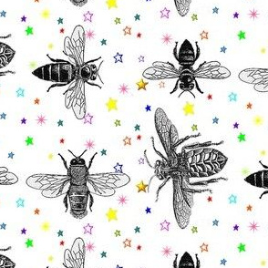 Black and White Honey Bees on Rainbow Stars, Vintage Insect Drawings