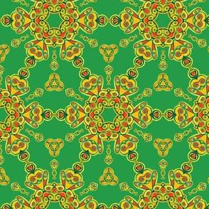 Yellow Green Kaleidoscope  Retro