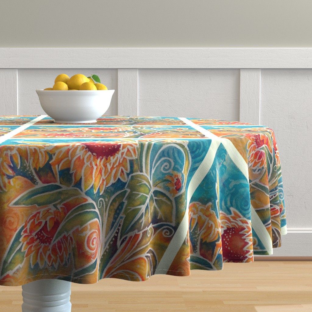 Malay Round Tablecloth featuring Tropical Flowers Batik Throw Pillow by thats_artrageous